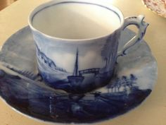 Antique Delft Teacup and Saucer by Rosenthal by MyEverydayVintage