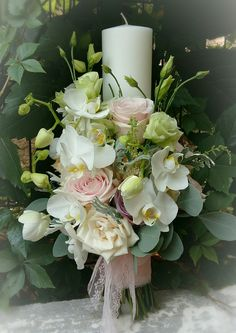Lumânări nuntă Christening Cake Girls, Peacock Crafts, Baptism Candle, Candle Set, Perfect Wedding, Wedding Details, Floral Arrangements, Wedding Ceremony, Wedding Flowers
