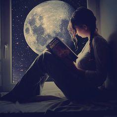#reading #windowsill #night #moon