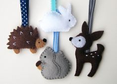 Handmade Felt Christmas Ornaments Woodland Animals by yuzucha