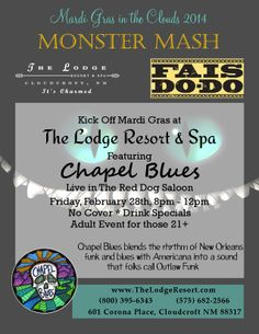 Just can't wait for Mardi Gras.  Chapel Blues at The Lodge.  Live.