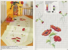 table runner with poppies