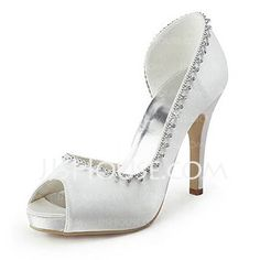 Wedding Shoes - $75.99 - Satin Cone Heel Peep Toe Platform Sandals Wedding Shoes With Rhinestone (047005498) http://jjshouse.com/Satin-Cone-Heel-Peep-Toe-Platform-Sandals-Wedding-Shoes-With-Rhinestone-047005498-g5498