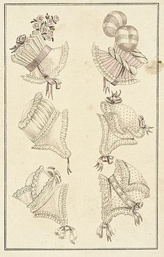 La Belle Assemblee, Parisian Head Dresses, January 1816.  How awesome is that killer pleated lampshade-y bonnet! I want it!