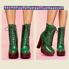 """Betsey Johnson Caylin Leather Green Ankle Boots Brand new with box. Sz 5.5 Totally distressed green leather boots featuring a lace-up front & chunky wooden platform & heel.  Zip closure at back, treaded sole.  Leopard print lining.  Looks badass paired with a shredded knit and cutoffs!  By Betsey Johnson.  Genuine Leather Upper  Height: 11.75""""  Heel Height: 6.25""""  Platform Height: 1.75""""  Runs true to size *Imported. ***THESE WERE FROM A RETAIL ENVIRONMENT  SO PLEASE LOOK AT PICTURES CLOSELY…"""