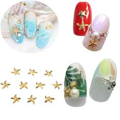 10Pcs 3D Alloy Starfish Nail Art Decoration Manicure DIY Tip
