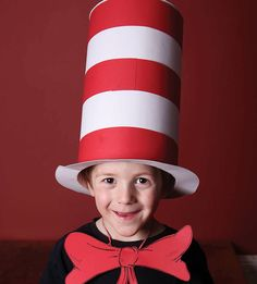 Learn how to make the best kid's Cat in the Hat costume on the internet! Really. This one has spring-loaded pop-up cats. Perfect for book character dress-up days and costume parties.