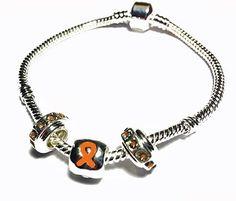 Pandora Style Multiple Sclerosis Awareness Silver Charm Bracelet