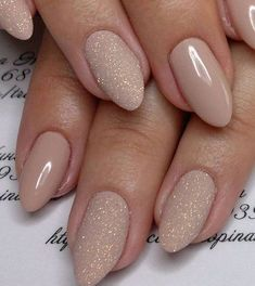 Glitter and nude nail art design #nail #naildesigns