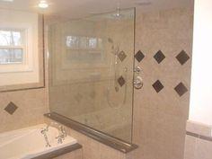 Half tile / half glass idea Shower Enclosure, Alcove, Tile, Bathtub, Bathroom, Glass, Ideas, Standing Bath, Washroom