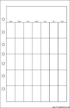 This daily planner page goes on the right-hand side of your desktop organizer sized datebook. It displays one month and is oriented vertically. Free to download and print