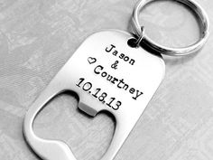 Wedding Favor - Personalized Bottle Opener with Names & Date.  Men's Wedding Favor.  Gift For Groomsmen.