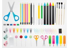 Large vector image set with many stationery items. Bright color detailed graphics of scissors, pens, pencils, crayons, highlighters, paperclips and other stationery items. Free vector graphics for school supplies, office, paperwork, desk, artists, DIY projects and household items designs.