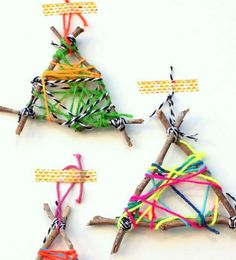 Twig String Art Christmas Ornament Crafts for Kids | Make these fun DIY ornaments for Christmas.