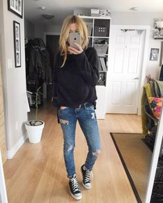 What I Wore This Week - livelovesara Style Converse, High Top Converse Outfits, Jeans And Converse, All Black Converse Outfit, Lazy Day Outfits, Casual Outfits, Fashion Outfits, Boot Outfits, Fall Winter Outfits