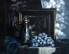 """""""black still-life with grapes"""" / «Чорний натюрморт із виноградом» / «Черний натюрморт с виноградом» 24х19 oil, сanvas on cardboard/ олія, полотно на картоні / масло, холст на картоне"""