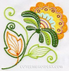 Embroidery Designs Jacobean Embroidery Pattern: Hanging Flower – Good for Goldwork Flower Embroidery Designs, Cute Embroidery, Learn Embroidery, Free Machine Embroidery Designs, Embroidery Ideas, Flower Applique, Applique Designs, Embroidery Thread, Machine Applique