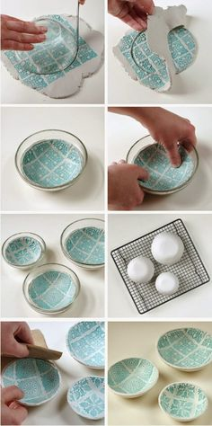 Diy Stamped Clay Bowls
