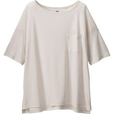 UNIQLO Women Modal Linen Short Sleeve Boxy T-Shirt ($15) ❤ liked on Polyvore featuring tops, t-shirts, shirts, short sleeve shirts, boxy tee, short sleeve t shirt, slit shirt, slit t shirt and linen tee