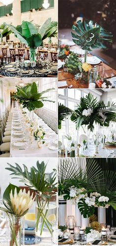 Greenery Tropical Wedding Centerpieces With Palm Leaves . greenery tropical wedding centerpieces with palm leaves - Animals and pets Tropical Wedding Centerpieces, Wedding Flower Arrangements, Flower Centerpieces, Wedding Decorations, Table Decorations, Centerpiece Ideas, Wedding Crafts, Eucalyptus Centerpiece, Centerpiece Wedding