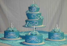 tortas azules para fiestas de 15 años (3)