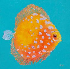 Fish painting, canvas art, tropical fish, discus, beach painting, beach house art, bathroom painting, kitchen art