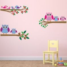 Owls And Birds Branch Wall Stickers - prints & art sale