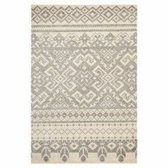 "Loomed rug with a Southwestern motif. Made in Turkey  Product: RugConstruction Material: PolypropyleneColor: Ivory and silverFeatures: Made in Turkey  Dimensions: 5'1"" x 7'6""   Note: Please be aware that actual colors may vary from those shown on your screen. Accent rugs may also not show the entire pattern that the corresponding area rugs have.Cleaning and Care: Professional cleaning recommended"