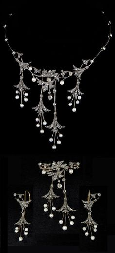 A Belle Epoque diamond and pearl necklace, brooch and earrings combination, 1870-1900. Can be worn as a necklace, a necklace with earrings or a brooch with earrings. All set with diamonds and Oriental pearls, mounted in silver and gold.