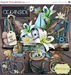 ON SALE Oceanside Vol 2 - Digital Scrapbook Kit and FREE QuickPage