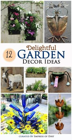 Want some easy ways to make your garden delightful? Look at these popular garden decor ideas and see which ones you like best. Garden Whimsy, Garden Junk, Garden Deco, Outdoor Projects, Diy Craft Projects, Outdoor Crafts, Craft Ideas, Garden Crafts, Garden Projects