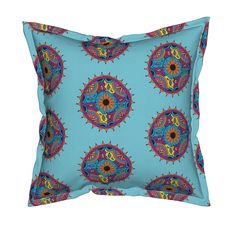 Serama Throw Pillow featuring light turquoise flower mandala by dnbmama…