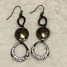 Lia Sophia earrings Lia Sophia gunmetal earrings with grey and white...one of the crystals is missing Lia Sophia Jewelry Earrings