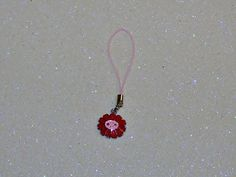 "ADORABLE SMILEY FACE FLOWER CELL PHONE CHARM-RED-PINK-3 1/4"" LONG-PLUS FREE GIFT-$3.99 