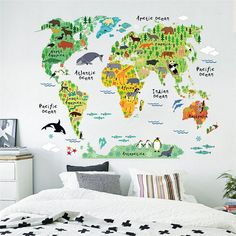 Animal World Map Wall Sticker - Removable Wall Decal. A fun and educational way to add color to any classroom, this world map wall decal set lets kids discover animals on every continent. Easy to apply and remove. No transfer film needed -- simply peel and stick! The animal world map stickers can be applied to any smooth, clean and dry surface of walls, tiles, glass and furniture. Not suitable for rough, uneven or dirty surfaces. This adorable wall decal set would also make a great…