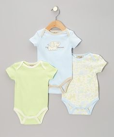 Take a look at the chick pea Blue Elephant Bodysuit Set - Infant on #zulily today!