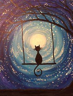 Cool starlight cat canvas painting tutorial!