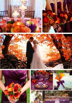 Fall wedding Purple and orange