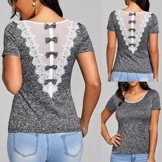 top sale T Shirt Women Lace Bow tie patch Short Sleeve O Collar T shirt summer crop Tops Camisetas Mujer Roupas-in T-Shirts from Women's Clothing & Accessorie Umgestaltete Shirts, Clothing Hacks, Clothing Accessories, Women's Clothing, Boutique Clothing, Lace Outfit, Shirt Refashion, Altering Clothes, Diy Fashion
