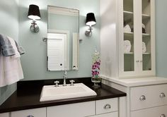 Small #Bathroom Ideas Bathroom. Paint Colour is Sherwin Williams Front Porch.