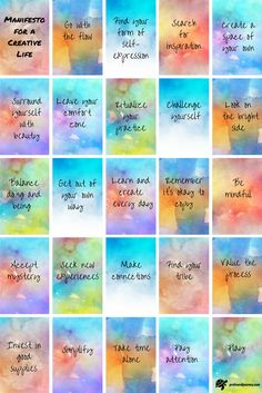 25 square manifesto of various watercolour backgrounds, each with an instruction for living a creative life Printable Planner, Planner Stickers, Printables, Rainbow Quote, Affirmation Cards, Disney Quotes, Disney Songs, Watercolor Background, New Wall