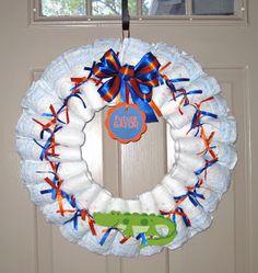 Florida Gator Diaper Wreath