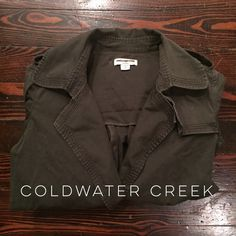 Coldwater Creek jacket This is a fantastic jacket! Army green with military style buckles and buttons. Has no closure in front but has loops for a belt to keep closed. Perfect with skinny jeans, boots, and a scarf!! No trades, bundle for a discount, reasonable offers accepted. Coldwater Creek Jackets & Coats Utility Jackets