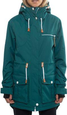 CLWR Colour Wear Up Parka Women's Snowboard Jacket, L, Bottle Green
