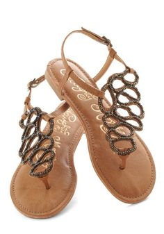 Twists and Terns Sandal - Tan, Solid, Beads, Cutout, Flat, Copper, Casual, Daytime Party, Beach/Resort, Summer, Faux Leather
