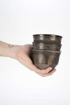 Black Clay cups with rustic glaze. #ceramics #jiggerjolly #clay #glaze, by Pol Mauri Carbonell