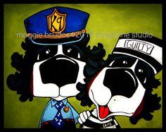 Guilty police dog prisoner Whimsical ART by tangerinestudio