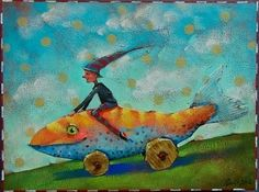 "Meals on Wheels by Angie Rees Acrylic ~ 9"" x 12"""
