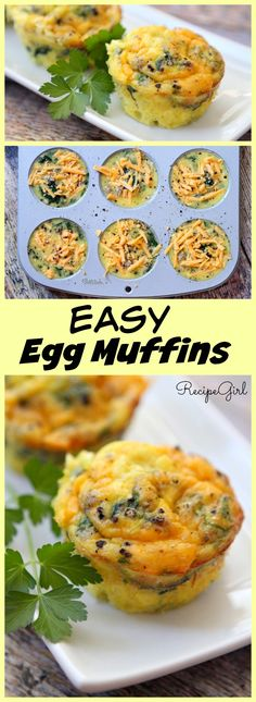 Easy Egg Muffins breakfast recipe. OMG so good! Just made some with onions, green peppers, & spinach. This will be a regular in our house :)
