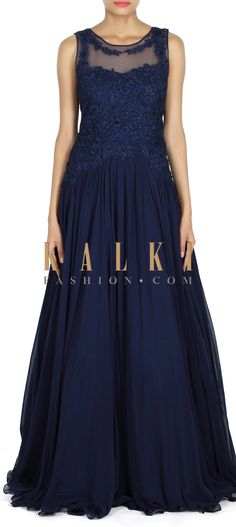 Buy this navy-blue-gown-adorn-in-kundan-and-resham-embroidery-only-on-kalk